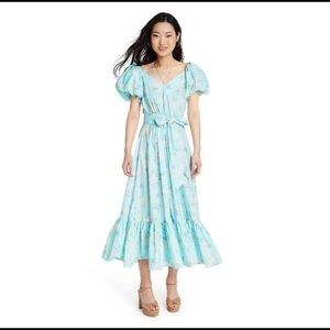 LoveShackFancy Estelle Puff Sleeve Midi Dress